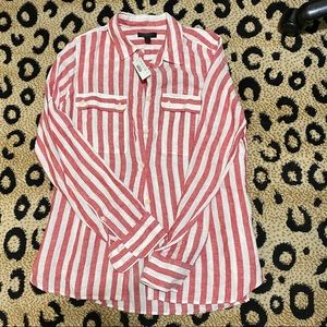 JCrew Red Button Up Shirt in Striped linen 6